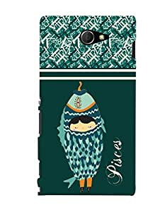 Fuson 3D Printed Sunsign Pisces Designer back case cover for Sony Xperia M2 - D4402