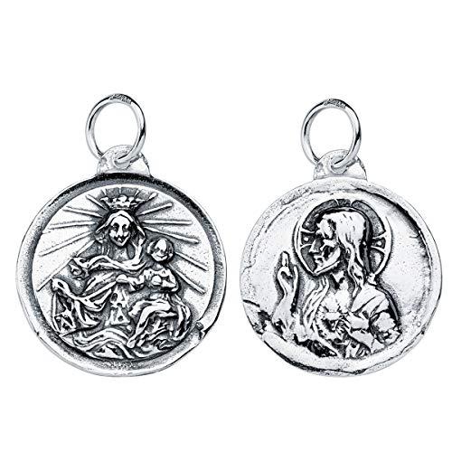 Iyé Biyé - Medalla Colgante escapulario Virgen del Carmen y Corazón de Jesús 18mm Plata de Ley 925 Acabado en Relieve y Brillo
