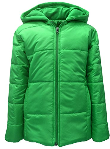Come In Kids Girls Full Sleeve Winterwear Hooded Full Zipper Closure Solid Quilted Jacket