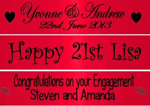 Personalisiert Rot Fahne Banner 80 cms Perfect decoration for Ruby anniversaries, 16th 18th 21st 25th 30th 40th 50th 60th birthday parties, wedding engagement, hen parties