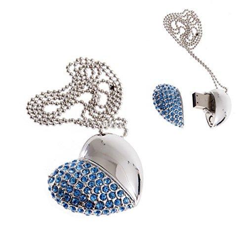 4/8/16/32GB USB Flash Drive Halskette-Jeweled Metall Herz USB Memory Stick Anhänger-ideal Weihnachtsgeschenk Blau blau 16 GB