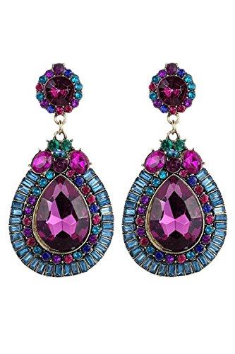 Pendientes - SODIAL(R)Pendientes de joyeria de moda de flor colorida d