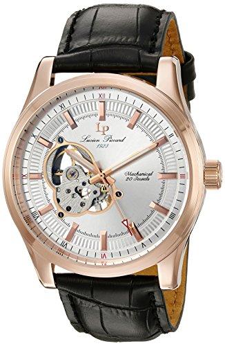 Lucien Piccard (LP-40006M-RG-02), orologio meccanico da uomo con quadrante analogico argentato e cinturino in pelle di colore nero