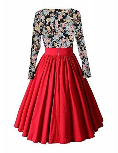 VKStar® Vintage 50er Frauen Scoop-Ausschnitt Stoffdruck Langarm mit beiläufige Kleider Rot Blumen+Rot