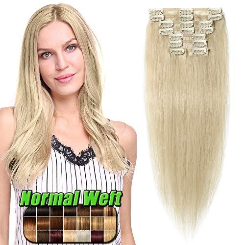 35-60cm extension capelli veri clip 60cm/80g #60 biondo platino - 8 ciocche 100% remy human hair naturali lisci umani full head