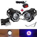 VastFire Waterproof 2x 125W CREE U8 Motorcycle Motorbike LED Headlight Driving Fog Spot Light Lamp+Switch