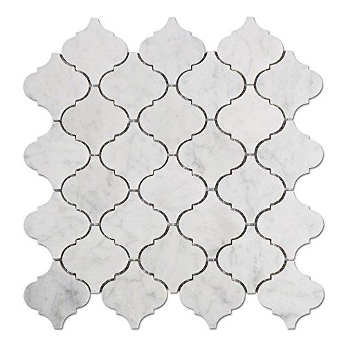 Diflart Carrara Weiß Italienisch (Bianco Carrara) Marmor Arabesque Mosaik Fliese Poliert, 5Blatt/Box -
