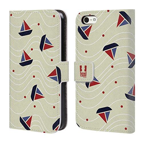 Head Case Designs Rote Und Weisse Anker Marine Muster Brieftasche Handyhülle aus Leder für Apple iPhone 6 / 6s Boot