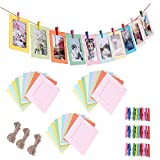 Yeelan 30pcs Fai da Te colorato Foto cornici di Carta Cartone Cornice Adatta 3' Parete Decor con mollette e Corda per Natale Home Office dormitorio Collegio Decorazioni