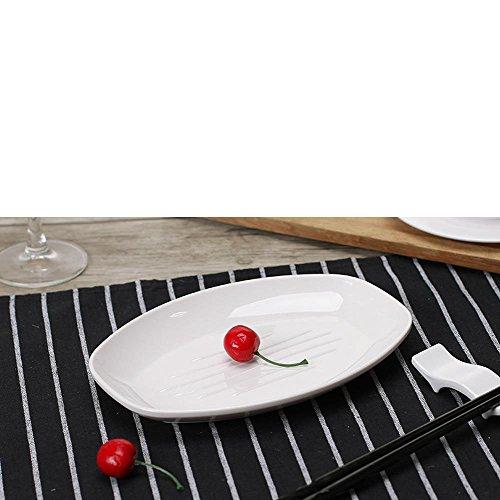 Daeou plaque blanche mélamine fondue rectangulaire plat riz-vaisselle Set de vaisselle en porcelaine de fantaisie: Un ensemble de deux