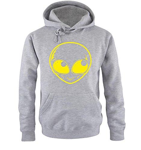 Comedy Shirts - ALIEN - Uomo Hoodie cappuccio sweater - taglia S-XXL different colors grigio / neon giallo