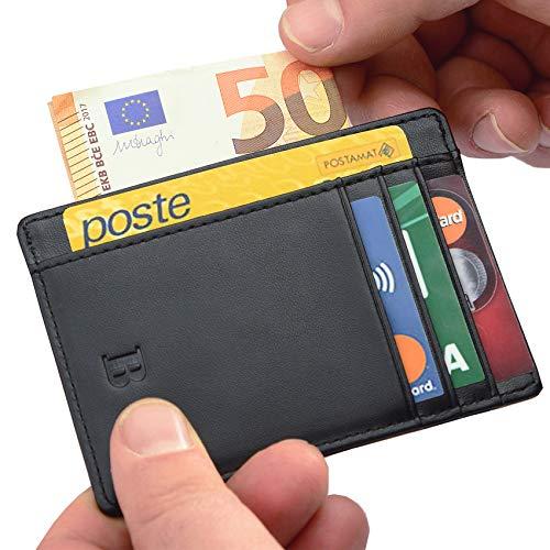 Portafoglio BRONZI Portafoglio Uomo Piccolo Sottile e Elegante Blocco RFID Nero In Pelle di Alta Qualità Porta Tessere Porta Documenti Porta Carte