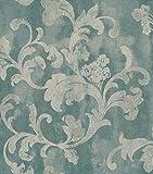 Rasch Tapeten 455359 Kollektion Florentine II-Vliestapete Ornament in Beige auf Blau-Vintageoptik, 10,05m x 0,53m (LxB)