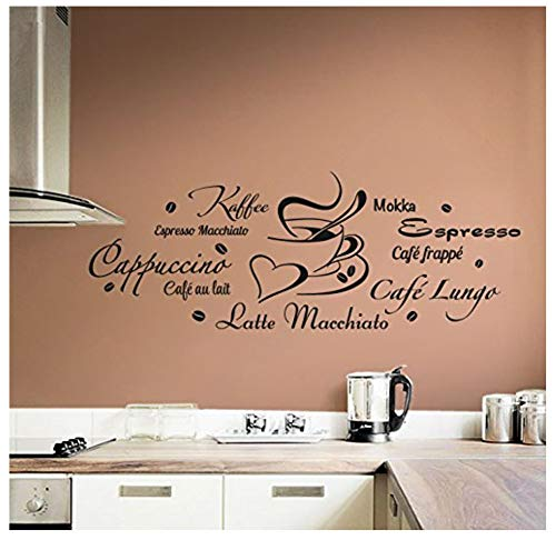 Wandtattoo Wandaufkleber Küche Cappuccino Espresso Latte Macchiato+Tasse Beige (Bxh) 120x45cm