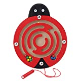 Albeey Magnets Puzzle Maze Kids Wooden Toy Animal Magnetic Labyrinth Educational Fun Games for Children (ladybug)