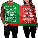 Fami-Felpa maglione natalizio e simpatico doppio maglione di Natale Twin 2 Top Xmas (Rosso, M)