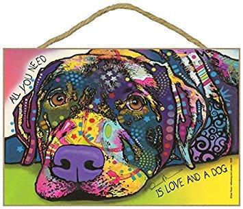 SJT (sjt78229) Labrador-All You Need is Love and a Dog 17,8x 26,7cm Holz Plakette/Schild mit Das Artwork von Dean Russo - Artwork Dean Russo