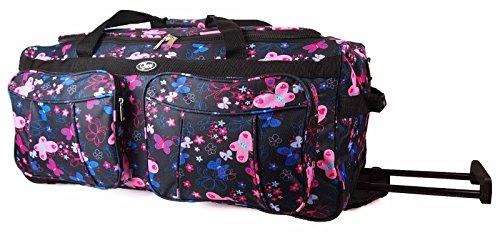 Reisetasche Gepäck Bordcase Trolley Handgepäck Tasche 43L 52 x 32 x 25 cm Auswahl (Schwarz Schmetterling) (- Trolley-gepäck)