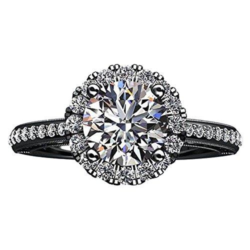 2,75 carati anello di fidanzamento con diamante rotondo di stile del fiore 14K oro nero Dimensione 16