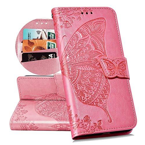 QPOLLY Kompatibel mit Samsung Galaxy A70 Handyhülle Tasche Hülle Flip Case im Bookstyle PU Leder Magnetisch Schutzhülle Kartenhalter Geldbörse Folio Klapp Ledertasche mit Standfunktion,Rosa Pink Folio
