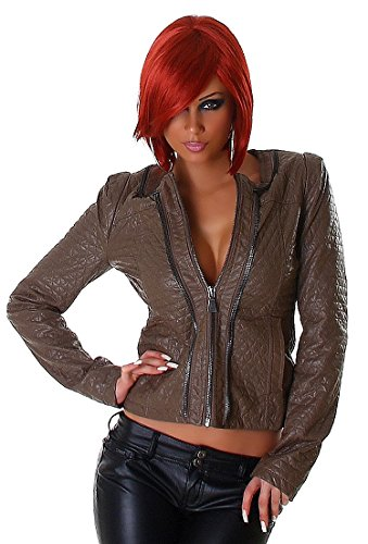 Voyelles - Damen Lederoptik Quilted-Jacket - Brown - Größe 40 - Steppjacke mit Schulterpolstern