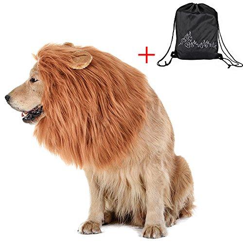 Imagen de airtana lion mane peluca para perro y gato disfraz con orejas ,puede ser limpiado mascota ajustable cómodo fancy león pelo perro ,ropa para halloween actividad de fiesta del festival de pascua alternativa