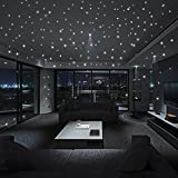 QingJiu Glow In The Dark Star Wall Stickers 407Pcs Round Dot Luminous Kids Room Decor (407 Stück, Runder Punkt)