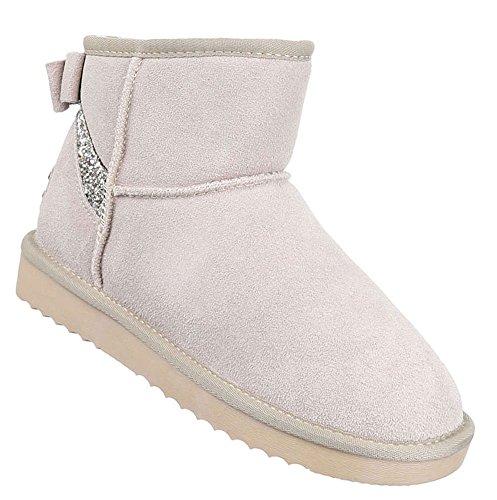 Damen Schuhe Stiefeletten Wildleder Boots Beige