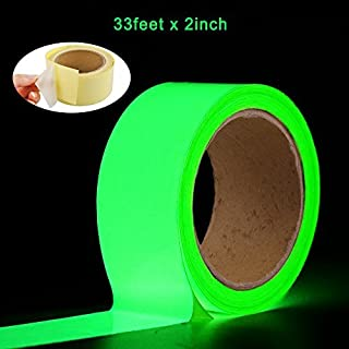 Oumers Glow in the Dark Tape 33 ft x 2 inch Green High Bright Luminous Tape Sticker Removeble waterproof and Photoluminescent