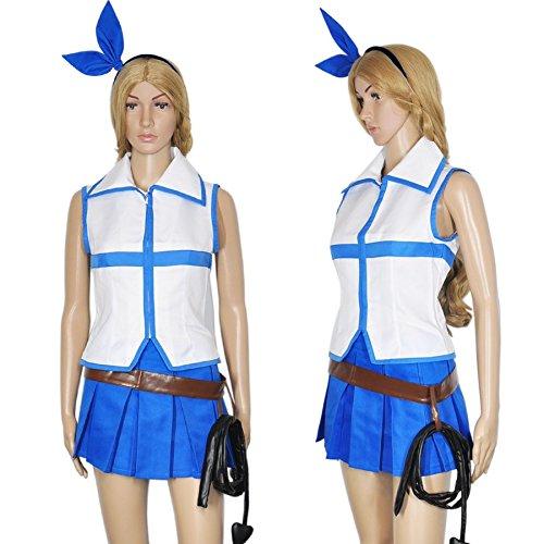 CoolChange Fairy Tail Cosplay Kostüm von Lucy Heartfilia, mit Top, Faltenrock und Peitsche, Größe: M (Fairy Tail Kostüme Für Erwachsene)