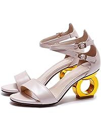 ZQ hug Zapatos de mujer - Tacón Robusto - Tacones - Tacones - Exterior / Casual - Semicuero - Negro / Amarillo / Rojo , black-us5.5 / eu36 / uk3.5 / cn35 , black-us5.5 / eu36 / uk3.5 / cn35