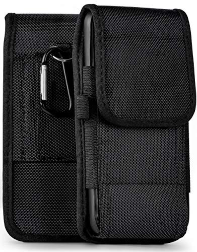 moex Leichte Handytasche mit doppelter Gürtel-Schlaufe für iPhone 5S / 5 / iPhone SE | Inkl. Klettverschluss und Karabinerhaken + Stifthalterung, Schwarz
