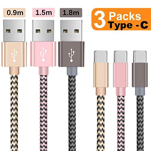 Cable USB C,Câble USB Type C-[3 Pack/ 0.9m+1.5m+1.8m] en Nylon Tressé Type C USB Charge Rapide Compatible avec Chargeur Samsung S9/S8 A7/A5/A3 2017, Huawei P20 /P10/P9, OnePlus,Sony Xperia et plus