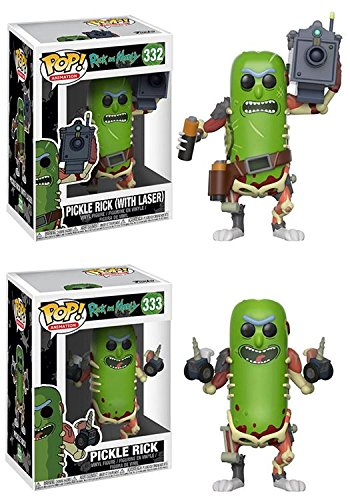 Funko POP! Rick & Morty: Pickle Rick with Laser + Pickle Rick – Viny