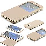 Samsung Galaxy S7 EDGE Schutz Hülle G Case Elegant Series Handy Schutz Tasche Flip Cover mit Sichtfenster edles Case ScorpioCover champagner gold