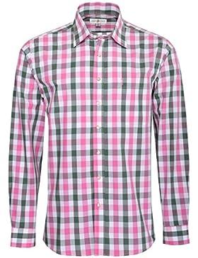 Almsach Trachtenhemd Heini Regular Fit mehrfarbig in Pink und Dunkelgrün inklusive Volksfestfinder
