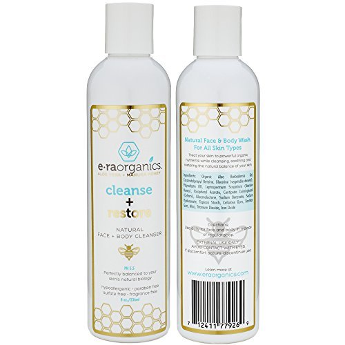 Empfindliche Haut-reiniger (Era Organics Natürliche Gesicht Wäsche 8oz, die Gesichtsreiniger mit organischer Aloe Vera u. Manuka Honig für trockene, ölige, beschädigte, empfindliche Haut befeuchtet. PH glich aus, das freie Sulfat.)