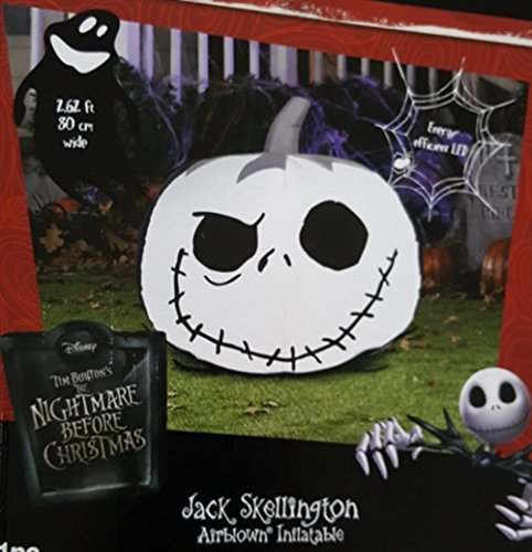 Jack Skellington Jack-O-Lantern Pumpkin Airblown Halloween Inflatable Decoration by Gemmy