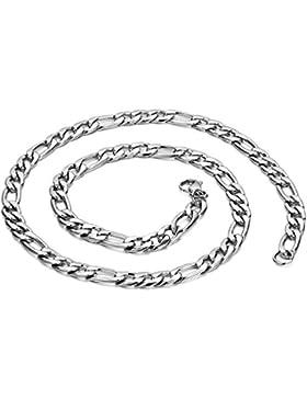 JewelryWe Schmuck Edelstahl Herren Halskette, Figarokette Figaro Silberkette Kubanische Panzerkette, Karabiner...