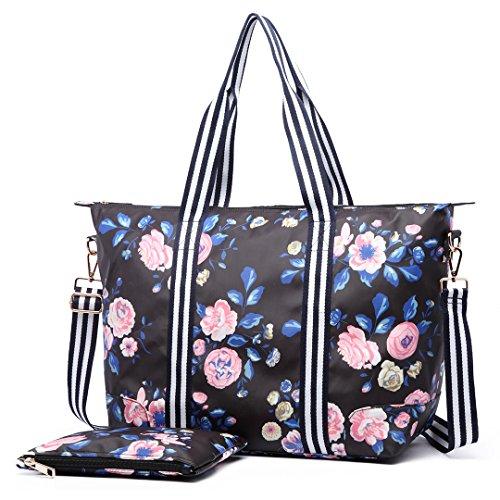 Miss Lulu 2Stück Frauen Fashion Vogel Blumen Wachstuch Baby Windel Wickeltasche Set groß hellgrau Gewicht Schulter Handtasche 6641-17flower navy