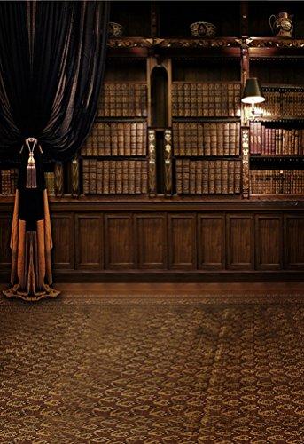 A.Monamour Bibliothek Thema Bücher Regal Indoor-Szene Dunkelbraun Fotohintergründe Studio Requisiten Fotografie Kulissen Vinyl