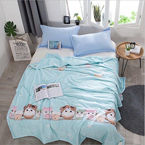 Sommer Bettdecke Licht Cool Lesel Sommer Quilt Luxus Tencel Sommer Decke König Größe 150 * 200/200 * 230/180 * 220 (Farbe Blau, Braun, Weiß) (Farbe : Blau, Größe : 200 * 230) (König Bio-baumwolle Decke)