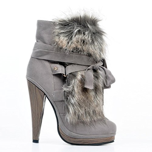 Kolnoo Femmes Main 13cm talon haut Bottes d'hiver Cross Party Band Prom Shoes gray