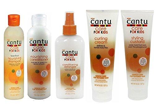 Shampoing, après-shampoing, démêlant, crème de bouclage et crème coiffante Cantu Care for Kids - Soin douceur - Ensemble de 5