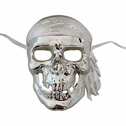 Maskerade, Skelett Maske Piratenmaske Halloween Party lustige Requisiten galvanisiertes Silber Masquerade