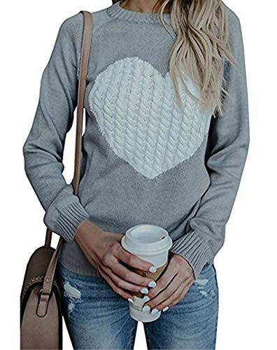 Damen Pullover Strick Winter Rundhals Langarm Loose Mode Freizeit Warmer Sweater Sweatshirt Oberteile (Small, grau)