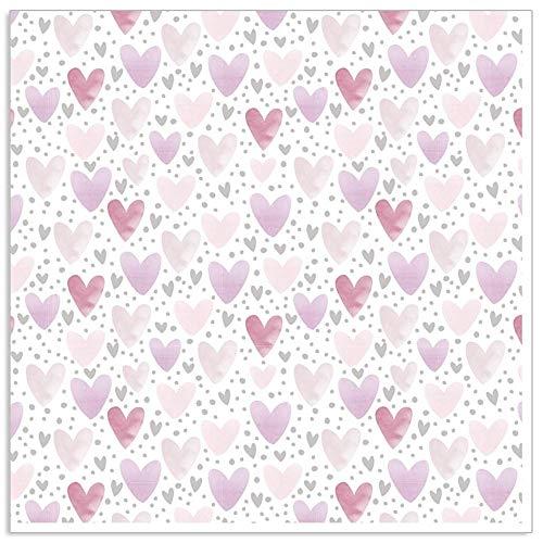 ARTEBENE Serviette Papierserviette Herzen Herz Allover Tissue | 33 x 33 cm | 20 Stück | 3-lagig | Hochwertige Serviette für Geburtstage, Feiern, Valentinstag, Muttertag (taupe)