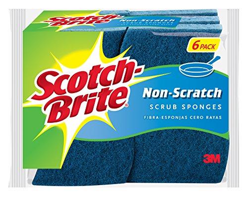 3M 526 No Scratch Multi-Purpose Scrub Schwamm, 4 2/5 x 2 3/5'', Blau, 6/Pack