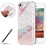 Uposao Marbre Coque iPhone 5C Etui Silicone Transparent Motif Marbre, Bling Glitter...