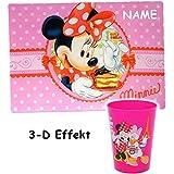 """2 tlg. Set _ 3-D Effekt __ Unterlage & Trinkbecher - """" Disney Minnie Mouse """" - als Tischunterlage / Platzdeckchen / Malunterlage / Knetunterlage / Eßunterlage / Platzmatte - 42 cm * 29 cm - für Kinder & Erwachsene - Mädchen / kleine Schreibunterlage - Platzset / Tischset - Maus / Playhouse - Daisy Mickey - Blumen Herzen - rutschhemmend / Zahnputzbecher / Malbecher - Malset"""